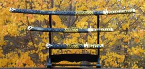 Black and Gold Tapestry Samurai Sword Set